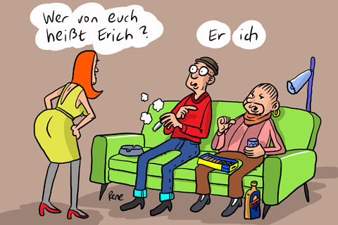 Cartoon: Erich ist hier (medium) by rene tagged erich,name,sofa,wohnzimmer