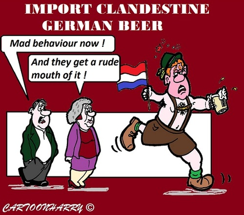 Cartoon: Clandestine German Beer (medium) by cartoonharry tagged german,beer,holland,problems,mouth,cartoon,cartoonist,cartoonharry,toonpool