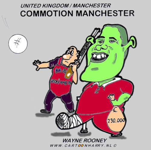 Cartoon: Commotion in Manchester (medium) by cartoonharry tagged stay,go,money,manchester,wayne,rooney,shrek,cartoonharry