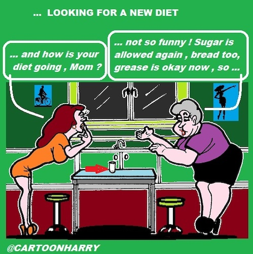 Cartoon: Diet (medium) by cartoonharry tagged diet,mom,daughter,cartoonharry