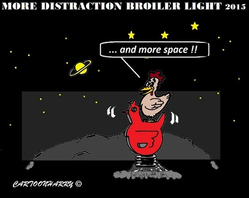 Cartoon: Distration Broiler Light (medium) by cartoonharry tagged space,chickens,light,broiler,distraction,cartoons,cartoonists,cartoonharry,dutch,toonpool
