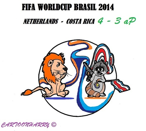 Cartoon: FIFA Worldcup Brasil 2014 (medium) by cartoonharry tagged fifa,soccer,worldcup,netherlands,costarica,2014