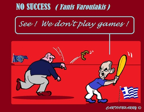 Cartoon: Greece Games (medium) by cartoonharry tagged europe,greece,varoufakis,dijsselbloem,games,finances