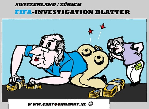 Cartoon: Investigation FIFA Sepp Blatter (medium) by cartoonharry tagged toonpool,dutch,cartoonharry,cartoonist,sports,football,soccer,cartoon,switzerland,fifa,blatter,investigation,corruption,fraude