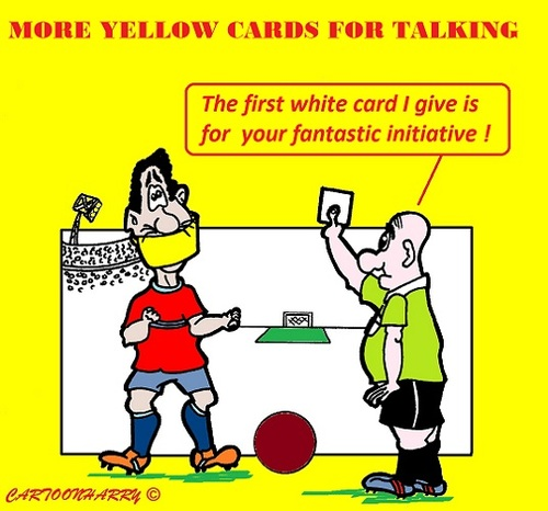 Cartoon: Soccer Yellow (medium) by cartoonharry tagged soccer,yellow,more,football,referee,netherlands,cartoons,cartoonists,cartoonharry,dutch,toonpool