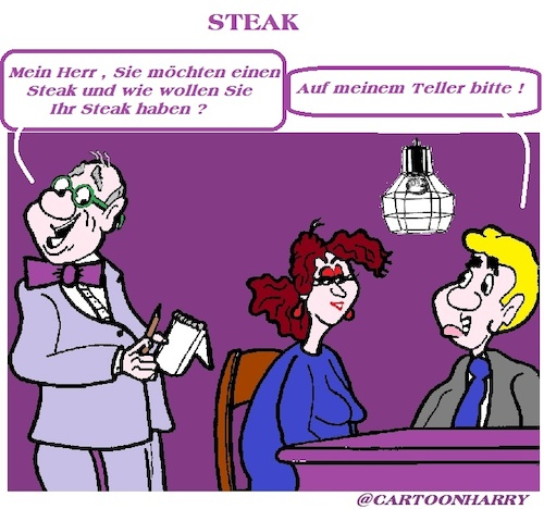 Cartoon: Steak (medium) by cartoonharry tagged steak,cartoonharry