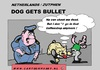 Cartoon: Dog Gets Bullet (small) by cartoonharry tagged dog,bullet,joint,coffeeshop,police,cartoon,comic,comics,comix,artist,art,arts,drawing,toonpool,toonsup,facebook,hyves,linkedin,buurtlink,deviantart