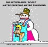 Cartoon: Freezing Or Thawning (small) by cartoonharry tagged weather,typical,dutch,snowman,summer,sun,snow,rain,thaw,cartoonharry
