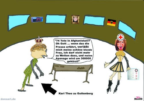 Cartoon: Majestät (medium) by Vanessa tagged bundeswehr,guttenberg,afghanistan,rotes,kreuz,drk