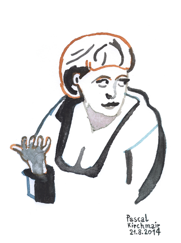 Cartoon: Angie (medium) by Pascal Kirchmair tagged bundeskanzlerin,germany,outre,rhin,allemagne,deutschland,angie,angela,merkel,portrait,aquarell,caricature,karikatur,watercolour