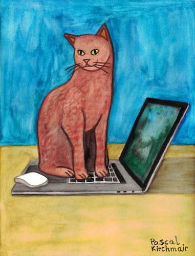 Cartoon: Cat on laptop (medium) by Pascal Kirchmair tagged laptop,notebook,cat,katze,gato,gatto,chat,humour,umorismo,humorous,spirito,humor,karl,lagerfeld,illustration,drawing,zeichnung,pascal,kirchmair,political,cartoon,caricature,karikatur,ilustracion,dibujo,desenho,ink,disegno,ilustracao,illustrazione,illustratie,dessin,de,presse,tekening,teckning,cartum,vineta,comica,vignetta,caricatura,laptop,notebook,cat,katze,gato,gatto,chat,humour,umorismo,humorous,spirito,humor,karl,lagerfeld,illustration,drawing,zeichnung,pascal,kirchmair,political,cartoon,caricature,karikatur,ilustracion,dibujo,desenho,ink,disegno,ilustracao,illustrazione,illustratie,dessin,de,presse,tekening,teckning,cartum,vineta,comica,vignetta,caricatura