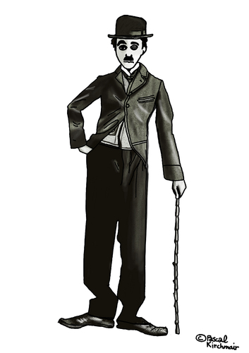 Cartoon: Charlie Chaplin (medium) by Pascal Kirchmair tagged cartoon,karikatur,caricature,tramp,the,drawing,dessin,zeichnung,charlot,chaplin,charlie,charlie,chaplin,charlot,zeichnung,dessin,drawing,the,tramp,caricature,karikatur,cartoon