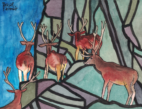 Cartoon: Deer in the mountains (medium) by Pascal Kirchmair tagged hirsche,rotwild,cervo,cervi,ciervos,cervos,ciervo,cerf,cerfs,deer,mountain,mountains,gebirge,berge,gemälde,painting,peinture,pittura,pintura,dipinto,alpine,alpen,dibuix,illustration,drawing,zeichnung,pascal,kirchmair,ilustracion,dibujo,desenho,disegno,ilustracao,illustrazione,illustratie,dessin,du,jour,art,of,the,day,tekening,teckning,watercolor,watercolour,aquarell,aquarelle,acquerello,acquarella,acuarela,aguarela,aquarela,alps,alpes,alpi,hirsche,rotwild,cervo,cervi,ciervos,cervos,ciervo,cerf,cerfs,deer,mountain,mountains,gebirge,berge,gemälde,painting,peinture,pittura,pintura,dipinto,alpine,alpen,dibuix,illustration,drawing,zeichnung,pascal,kirchmair,ilustracion,dibujo,desenho,disegno,ilustracao,illustrazione,illustratie,dessin,du,jour,art,of,the,day,tekening,teckning,watercolor,watercolour,aquarell,aquarelle,acquerello,acquarella,acuarela,aguarela,aquarela,alps,alpes,alpi