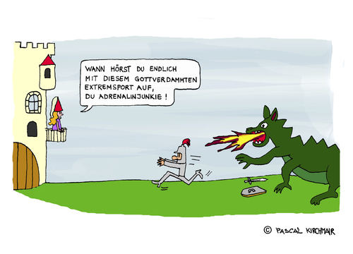 Cartoon: Der Adrenalinjunkie (medium) by Pascal Kirchmair tagged kunibert,cartoon,ritter,drachen,drachentöter,burgfräulein,burg,schloß