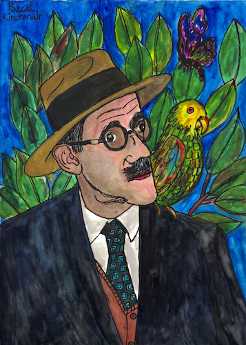 Cartoon: James Joyce visita a Frida (medium) by Pascal Kirchmair tagged poet,writer,novelist,finnegans,wake,avant,garde,james,joyce,ulysses,irish,illustration,drawing,zeichnung,pascal,kirchmair,irisch,cartoon,caricature,karikatur,ilustracion,dibujo,desenho,ink,disegno,ilustracao,illustrazione,illustratie,dessin,de,presse,du,jour,art,of,the,day,tekening,teckning,cartum,vineta,comica,vignetta,caricatura,portrait,retrato,ritratto,portret,aquarelle,watercolor,watercolour,acquarello,acuarela,aguarela,aquarela,irland,ireland,irlanda,irlandesi,irlande,mexico,mexiko,dubliners,dublin,frida,kahlo,vanguardia,vanguarda,avanguardia,poet,writer,novelist,finnegans,wake,avant,garde,james,joyce,ulysses,irish,illustration,drawing,zeichnung,pascal,kirchmair,irisch,cartoon,caricature,karikatur,ilustracion,dibujo,desenho,ink,disegno,ilustracao,illustrazione,illustratie,dessin,de,presse,du,jour,art,of,the,day,tekening,teckning,cartum,vineta,comica,vignetta,caricatura,portrait,retrato,ritratto,portret,aquarelle,watercolor,watercolour,acquarello,acuarela,aguarela,aquarela,irland,ireland,irlanda,irlandesi,irlande,mexico,mexiko,dubliners,dublin,frida,kahlo,vanguardia,vanguarda,avanguardia