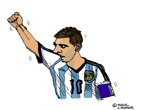 Cartoon: Lionel Messi (medium) by Pascal Kirchmair tagged argentina,fußball,portrait,futebol,futbol,foot,football,lionel,messi,caricature,cartoon,karikatur,argentinien,brasilien,wm,star,world,cup,soccer