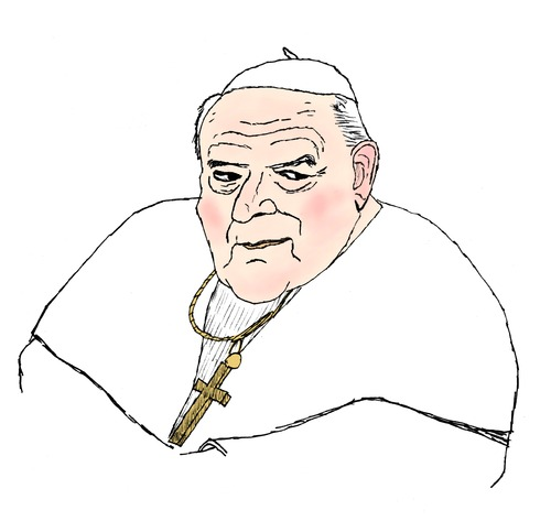 Cartoon: Papst Johannes Paul II. (medium) by Pascal Kirchmair tagged catholic,church,catholique,katholisch,eglise,kirche,blessing,blessed,beatification,pawel,jan,john,pope,papa,giovanni,paolo,papam,habemus,ii,jean,paul,johannes,papst,pontifikat