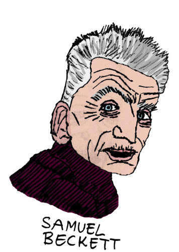 Cartoon: Samuel Beckett (medium) by Pascal Kirchmair tagged samuel,dublin,irisch,godot,attendant,en,auf,warten,beckett,literatur,nobelpreis,schriftsteller,writer,author,poet,autor,auteur,ecrivain,poete