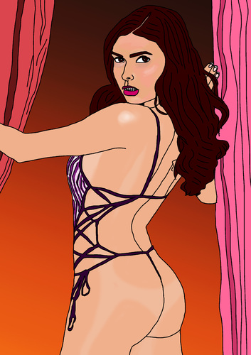 Cartoon: Sasckya Porto (medium) by Pascal Kirchmair tagged mannequin,porto,sasckya,erotic,erotik,sexy,top,model,playboy
