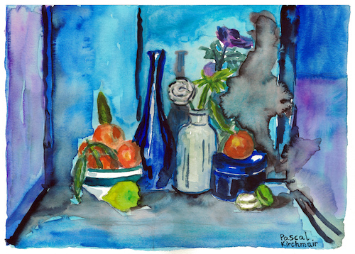 Cartoon: Still life with citrus fruits (medium) by Pascal Kirchmair tagged stilleben,nature,morte,aquarell,still,life,watercolour,natura,morta,bodegon,pascal,kirchmair,naturaleza,muerta,natureza