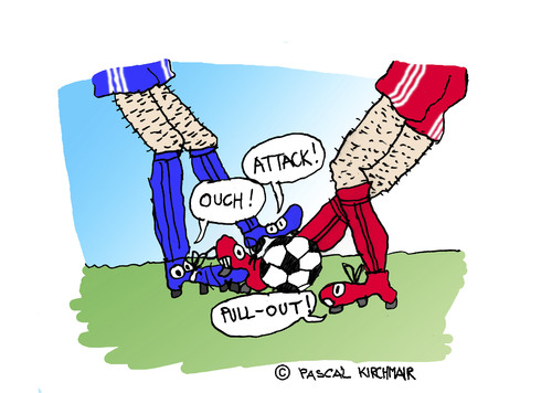 Cartoon: Football (medium) by Pascal Kirchmair tagged tackeln,tackling,zweikampf,foul,duell,kampf,fußball,soccer,foot,football,flight,fight,calcio