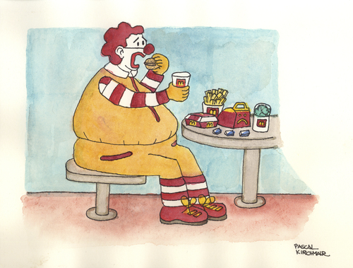 Cartoon: The real Ronald McDonald (medium) by Pascal Kirchmair tagged caricature,obese,cartoon,obesity,donald,mc,mac,ronald,fettleibigkeit,karikatur,karikatur,fettleibigkeit,ronald,mac,mc,donald,obesity,cartoon,obese,caricature