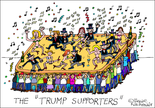 Cartoon: The Trump Supporters (medium) by Pascal Kirchmair tagged donald,trump,supporters,caricature,karikatur,cartoon,pascal,kirchmair,vignetta,usa,president,united,states,presidente,parties,donald,trump,supporters,caricature,karikatur,cartoon,pascal,kirchmair,vignetta,usa,president,united,states,presidente,parties