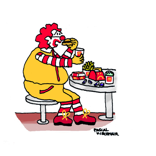 Cartoon: The Unhappy Meal (medium) by Pascal Kirchmair tagged donalds,mc,mac,food,fast,essen,schlechtes,dickmacher,dick,fett,fat,reality,real,big,meal,unhappy,falsche,nourriture,probleme,problem,epais,gros,schlecht,werbung,nahrung,ernährung,diet,alimentation,ronald,mcdonald,nutrition