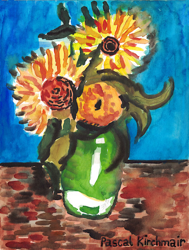 Cartoon: Three Sunflowers in a Vase (medium) by Pascal Kirchmair tagged pascal,kirchmair,vincent,van,gogh,sonnenblumen,sunflowers,vase,tournesols,girasoles,girasoli,watercolor,aquarell,painting,dipinto,cuadro,quadro,pascal,kirchmair,vincent,van,gogh,sonnenblumen,sunflowers,vase,tournesols,girasoles,girasoli,watercolor,aquarell,painting,dipinto,cuadro,quadro