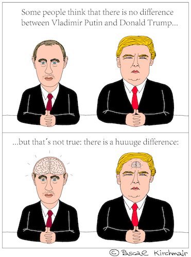 Cartoon: Vladimir Putin and Donald Trump (medium) by Pascal Kirchmair tagged brain,donald,trump,vladimir,putin,cartoon,caricature,karikatur,vignetta,russia,usa,president,difference,comparison,intelligence,stupid,white,men,dumb,silly,donald,trump,vladimir,putin,cartoon,caricature,karikatur,vignetta,russia,usa,president,difference,comparison,brain,intelligence,stupid,white,men,dumb,silly