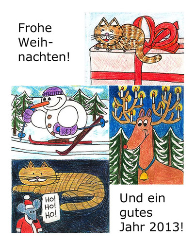 Cartoon: Weihnachtskarte (medium) by Pascal Kirchmair tagged schneemann,langlaufen,snowman,bonhomme,de,neige,cat,chat,minou,minet,katze,weihnachtsmann,geschenk,cadeau,present,reindeer,elk,rentier,rudi,rudolf,rudolph,2012,weihnachtskarte,card,carte,voeux,merry,xmas,christmas,weihnachten,joyeux,noel,santa,claus,pere