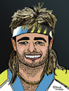 Cartoon: Andre Kirk Agassi (small) by Pascal Kirchmair tagged andre,agassi,caricature,karikatur,portrait,vignetta,cartoon,las,vegas,nevada,usa,tennis