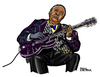 Cartoon: B. B. King (small) by Pascal Kirchmair tagged king beale street blues boy guitarist caricature cartoon karikatur portrait
