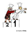 Cartoon: Das Kochduell (small) by Pascal Kirchmair tagged granny,grandma,oma,recipe,rezept,cajun,cooking,kochduell,contest,competition,prize,siegertreppchen,cook,chef,koch,küche,haube,paul,bocuse,stockerl,platzierung,reihung,cartoon,comic