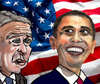 Cartoon: Forerunner and Successor (small) by Pascal Kirchmair tagged stars and stripes etoiles et bandes sternenbanner banniere etoilee star spangled banner george bush barack obama presidents usa amerika vereinigte staaten amerique washington flag flagge drapeau americain fahne american amerikanische