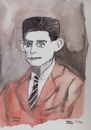 Cartoon: Franz Kafka (small) by Pascal Kirchmair tagged roman,ecrivain,author,writer,austria,prag,process,schloss,verschollene,franz,kafka,schriftsteller,portrait,karikatur,caricature