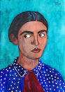 Cartoon: Frida Kahlo de Rivera (small) by Pascal Kirchmair tagged frida,kahlo,cartoon,painting,zeichnung,desenho,caricature,illustration,ilustracion,pascal,kirchmair,portrait,retrato,ritratto,drawing,dibujo,disegno,ilustracao,illustrazione,illustratie,dessin,du,jour,art,of,the,day,tekening,teckning,cartum,vineta,comica,vignetta,caricatura,karikatur,aquarell,watercolour,watercolor,ink,cuadro,quadro,immagine,image,bild,imagen,imagem,pintura,pittura,arte