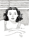 Cartoon: Hedy Lamarr (small) by Pascal Kirchmair tagged hedy lamarr ecstasy artist art hollywood parasite screenwriter illustration drawing zeichnung pascal kirchmair cartoon caricature karikatur ilustracion dibujo desenho ink disegno ilustracao illustrazione illustratie dessin de presse du jour of the day tekening teckning cartum vineta comica vignetta caricatura portrait porträt portret retrato ritratto austria österreich movies film industry black and white stummfilm star kino ekstase