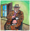 Cartoon: Henri Matisse mit Katze (small) by Pascal Kirchmair tagged henri,matisse,chat,cat,katze,aquarell,watercolour,portrait,portret,cartum