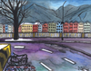 Cartoon: Innsbruck im Winter (small) by Pascal Kirchmair tagged mariahilfstraße,innsbruck,winter,aquarell,marktplatz,watercolour,malerei,painting,peinture