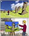 Cartoon: Inspiration (small) by Pascal Kirchmair tagged inspiration,osterinsel,easter,island,ile,de,paques,isola,pasqua,isla,pascua,rapanui,cartoon,bildgeschichte,illustration,caricature,karikatur,moai