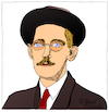 Cartoon: James Joyce (small) by Pascal Kirchmair tagged james,joyce,caricature,cartoon,karikatur,portrait,retrato,pascal,kirchmair,dibujo,drawing,desenho,zeichnung,portret,ritratto,cartum,tekening,teckning,dessin,ilustracion,ilustracao,illustrazione,illustration,illustratie,dublin,ireland,irlanda