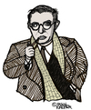 Cartoon: Jean-Paul Sartre (small) by Pascal Kirchmair tagged schriftsteller,author,french,frankreich,jean,paul,sartre,philosoph,existentialisme,cartoon,caricature,karikatur