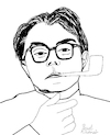 Cartoon: Max Frisch (small) by Pascal Kirchmair tagged max,frisch,cartoon,caricature,karikatur,ilustracion,illustration,portrait,retrato,pascal,kirchmair,dibujo,desenho,drawing,zeichnung,ritratto,disegno,ilustracao,illustrazione,illustratie,dessin,du,jour,art,of,the,day,tekening,teckning,cartum,vineta,comica,vignetta,caricatura,stiller,homo,faber,mein,name,sei,gantenbein,biedermann,und,die,brandstifter,andorra,ecrivain,schriftsteller,writer,author,auteur,autore,autor