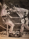 Cartoon: Rocky Marciano vs. Joe Louis (small) by Pascal Kirchmair tagged boxen,boxe,boxing,champion,championships,weltmeister,rocco,marchegiano,rocky,marciano,knocking,out,joe,louis,ko