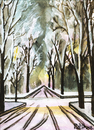 Cartoon: Winterallee in Innsbruck (small) by Pascal Kirchmair tagged winter,allee,innsbruck,aquarell,painting,watercolour,malerei