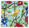 Cartoon: Yellow bird with flowers (small) by Pascal Kirchmair tagged yellow bird with flowers and leaves after tilework in shiraz iran drawing zeichnung illustration ilustracao ilustracion illustrazione illustratie desenho dessin dibujo
