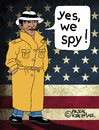 Cartoon: Yes we spy (small) by Pascal Kirchmair tagged yes we spy barack obama usa nsa spionage grundrechte privatsphäre amerika washington