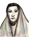 Cartoon: Yma Sumac (small) by Pascal Kirchmair tagged yma,sumac,portrait,caricature,drawing,dibujo,picture,peru,lima,sängerin,singer,vignetta,cartoon,dessin,desenho,disegno,illustration,watercolour,aquarell,quechua