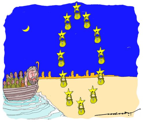Cartoon: A starry Gauntlet (medium) by kar2nist tagged refugees,gauntlet,stars,eu,noah